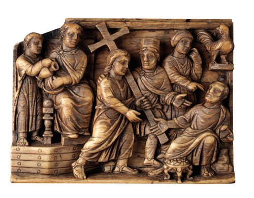 Ivory Plaque with Pilate Washing His Hands, Jesus Bearing the Cross and Peter Denying Jesus