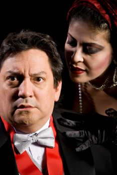 Kitchen Dog's Richard III. Rene Moreno as Richard, Christine Vela as Queen Margaret, photo by Matt Mrozek