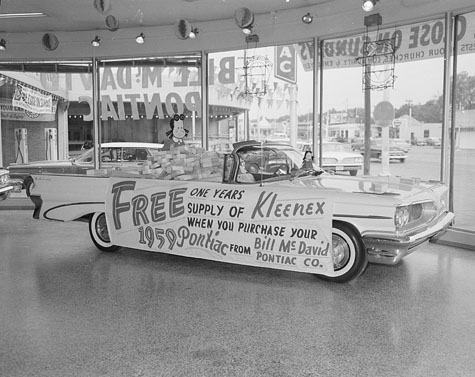 Promotion at Bill McDavid Pontiac, 1959, b&w photo by Bill Wood, Jr.