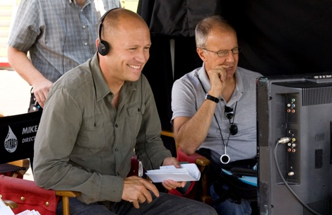 Mike Judge on the set of Extract. (Photo credit: Miramax)