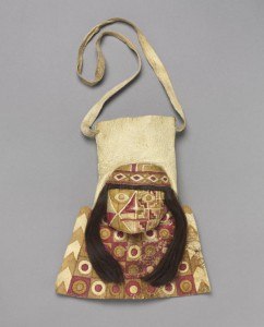 Bag With Human Face, alpaca or llama hide, human hair, pigment, cotton, The Cleveland Museum of Art.