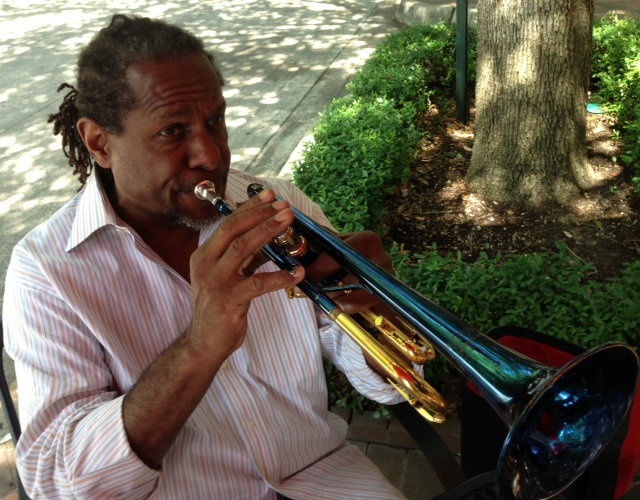 Freddie Jones plays some impromptu jazz outside a coffee shop on Addison Circle. Photo: Willow Blythe