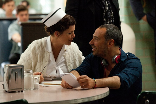 Marcia Gay Harden and Peter Landesman on the set of Parkland. Photo: Claire Folger