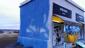 The Prada Marfa public art installation was vandalized earlier this month. (Photo Credit: Rita Weigart/Marfa Public Radio)