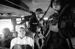 Freedom Riders Julia Aaron, left, and David Dennis were among the Freedom Riders who paved the way for Freedom Summer student volunteers. They're pictured here on their way from Montgomery, Ala., to Jackson, Miss. in 1961. Credit: Paul Schutzer via 'Freedom Riders' c/o PBS
