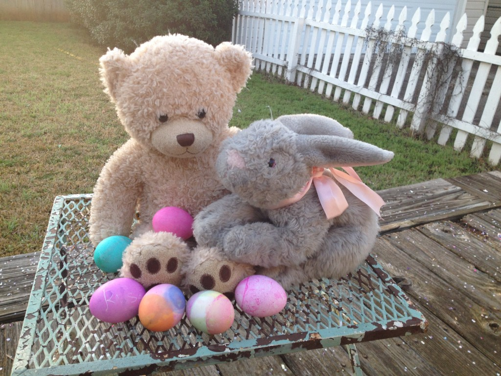 Stella and Penelope are off on one last adventure with the Easter Bunny. Photo: Therese Powell