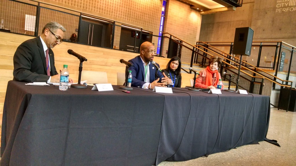James Ragland (far left) moderated the Political City track's Full City-Team panel, featuring Michael Sorrell, Florencia Velasco Fortner and Lee Cullum.
