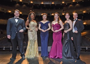 Winners and finalists (from left to right): Anthony Clark Evans, J'nai Bridges, Jungwon Choi, Sarah Mesko, Elizabeth Sutphen and John Brancy. Credit: Karen Almond, Dallas Opera