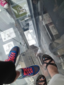 A 103 stories up at the Willis (Sears) Tower. I lasted just long to snap this picture. Photo: Therese Powell
