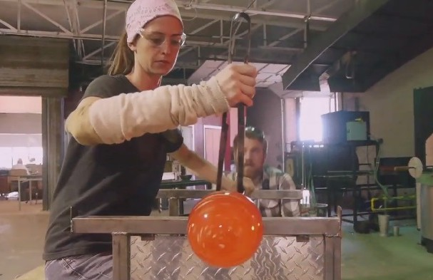 "Carlyn Ray showcasing her glassblowing techniques in ""Art: A Personal Journey with Quin Mathews."""