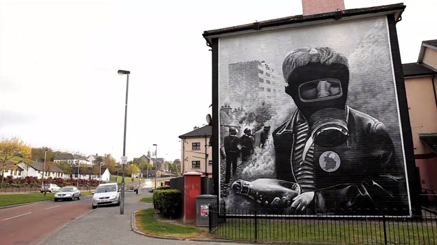 """A mural in Belfast in """"Beyond the Walls."""""""
