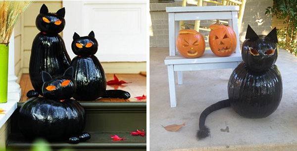Pinterest's Cat O' Lanterns (left) and my attempt. Don't worry, I'm not quitting my day job. (photos Left: Pinterest Thomas J. Story; Right: Therese Powell)