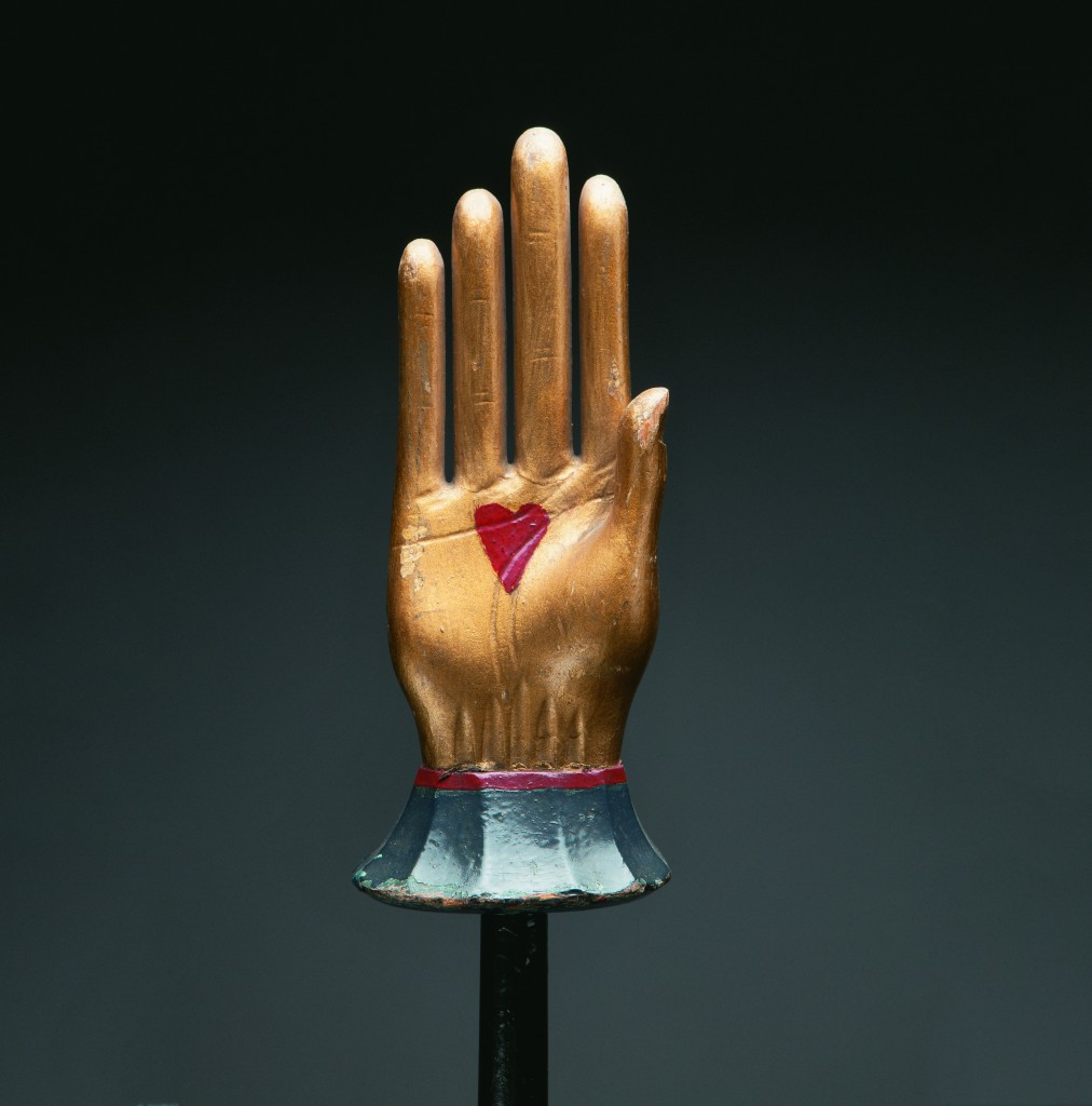 Odd Fellows heart-in-hand staff, ca. 1890s Polychrome wood, 10 × 4 × 2 in. on 52 in. rod Webb Collection