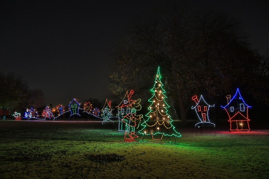 The whimsical lights of the Farmers Branch Historical Park's Tour of Lights.
