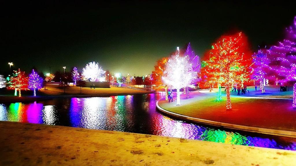 The modern Vitruvian Lights at Vitruvian Park in Addison.