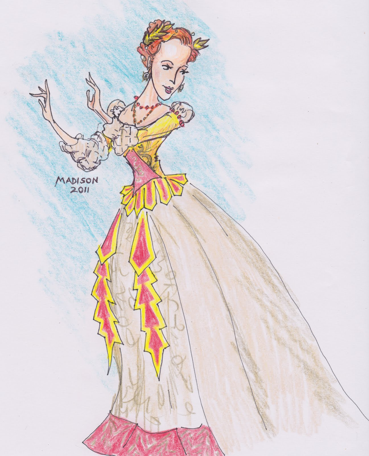 A costume sketch of Ava Pine as Cleopatra in FW Opera's Julius Caesar.