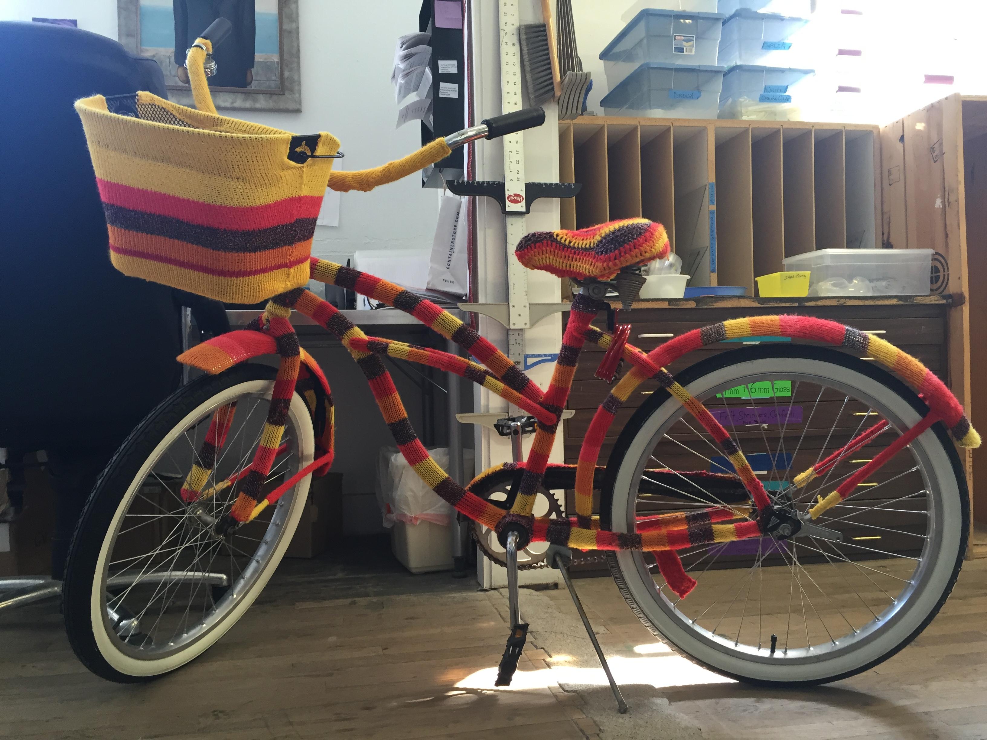 Yarn-bombed bike, Creative Arts Center of Dallas.