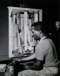 Norman Lewis works in studio. Photo: Michael Rosenfeld Gallery LLC, New York © Estate of Norman Lewis