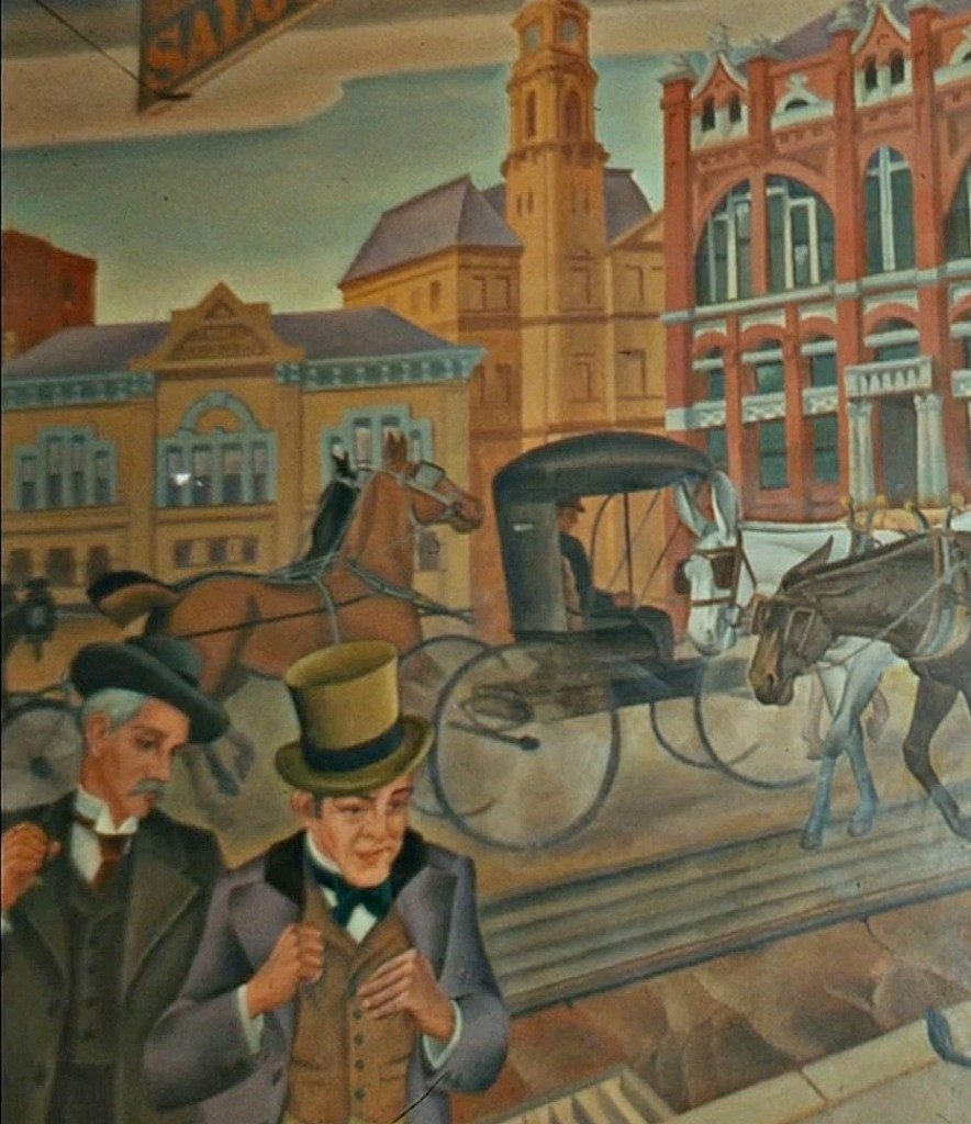 Detail from '1880-1890 – The Young City Puts on Airs – Post Office and City Hall Are Built' by Jerry Bywaters and Alexander Hogue