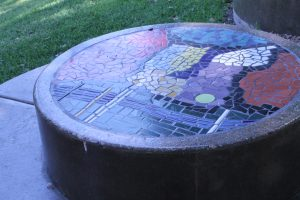 "The centerpiece of ""Ignite Ferris Plaza"" features a mosaic map of downtown Dallas. Photo: Francesca Paris"