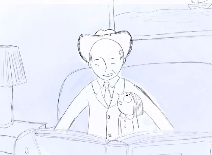 Animated still of the narrator and her father.