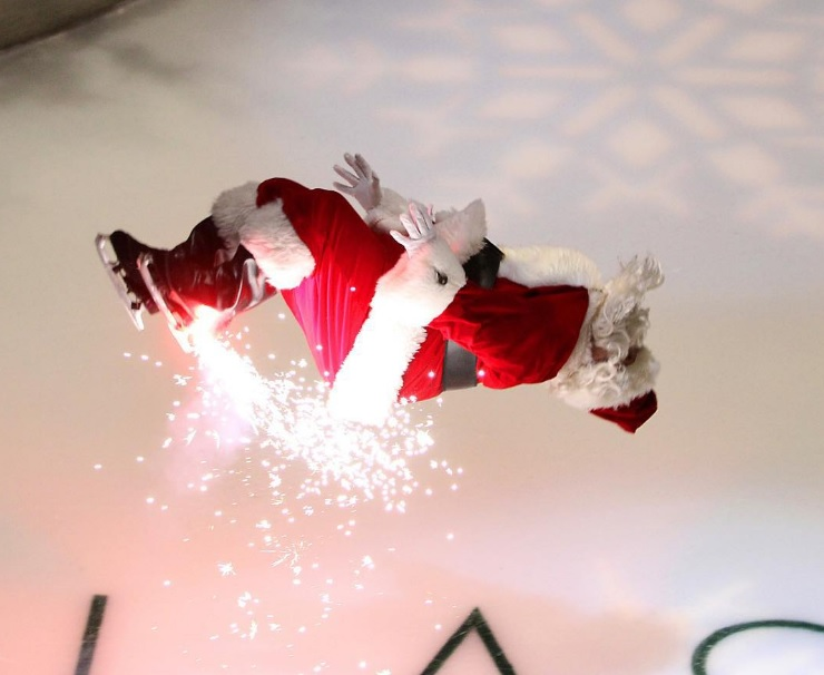 Don't miss Missile Toes, the Galleria's ice-skating, back-flipping, pyrotechnic Santa Claus. Photo: Galleria Dallas