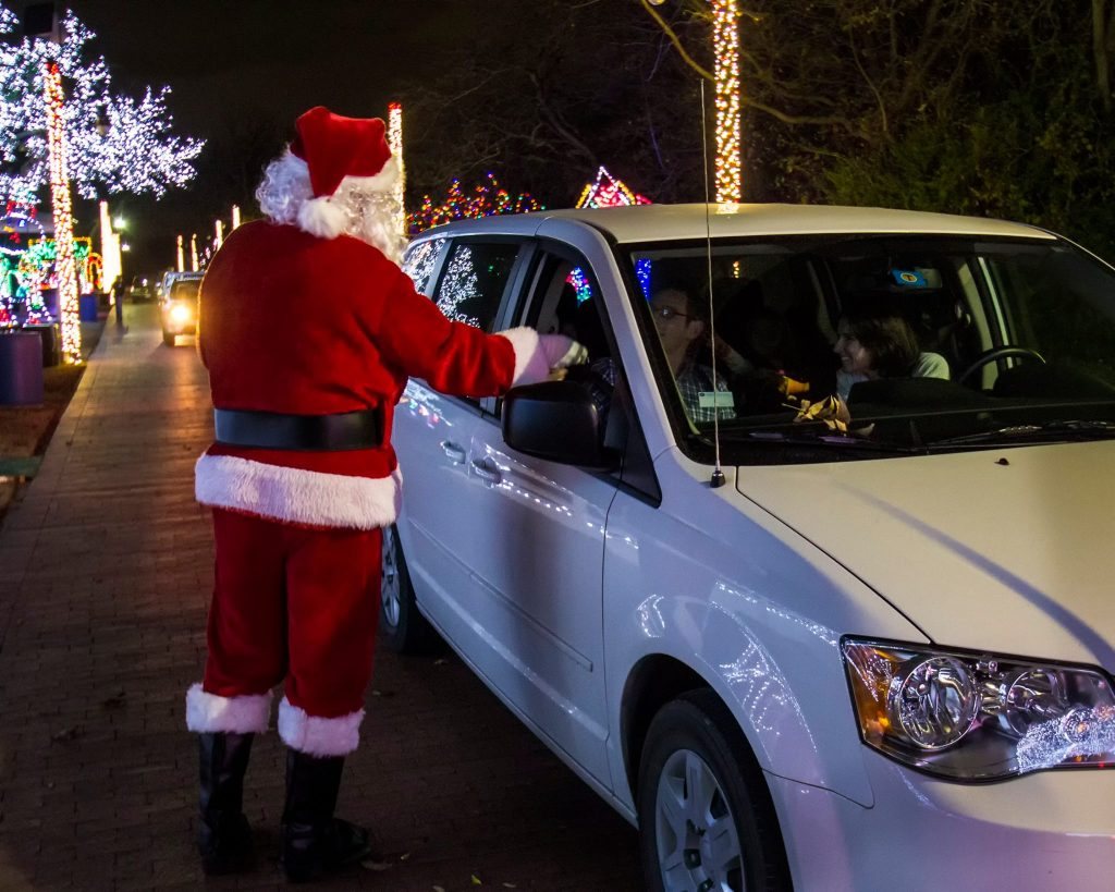 Say hello to Santa at the Tour of Lights. Photo: Farmers Branch Historical Park