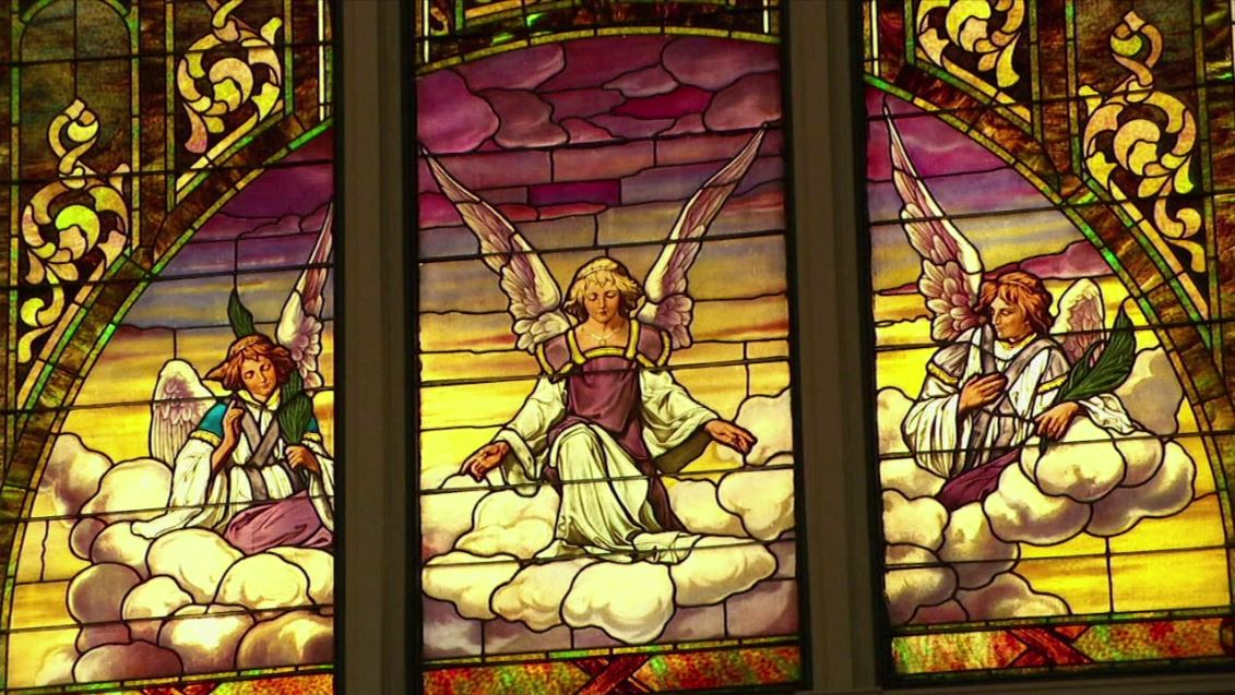 Stained glass at the First Presbyterian Church