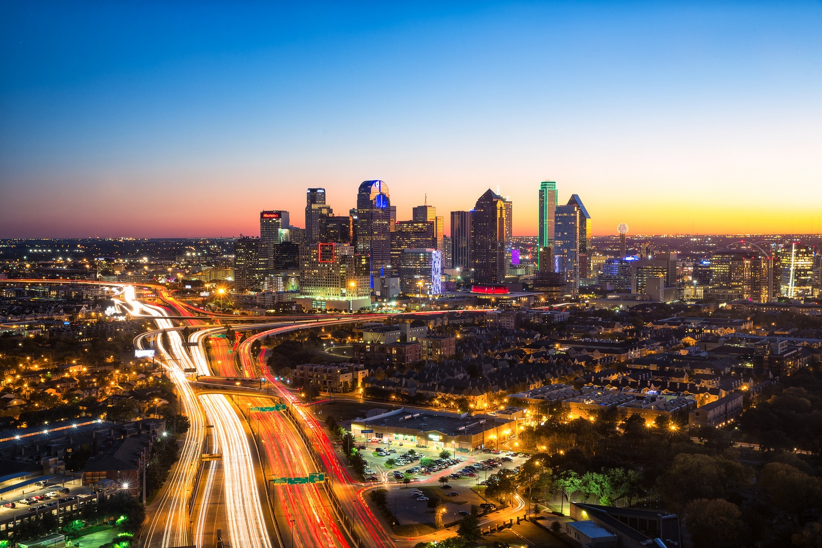 Dallas Skyline at Dusk with Sunset. Photo: Stephen Masker