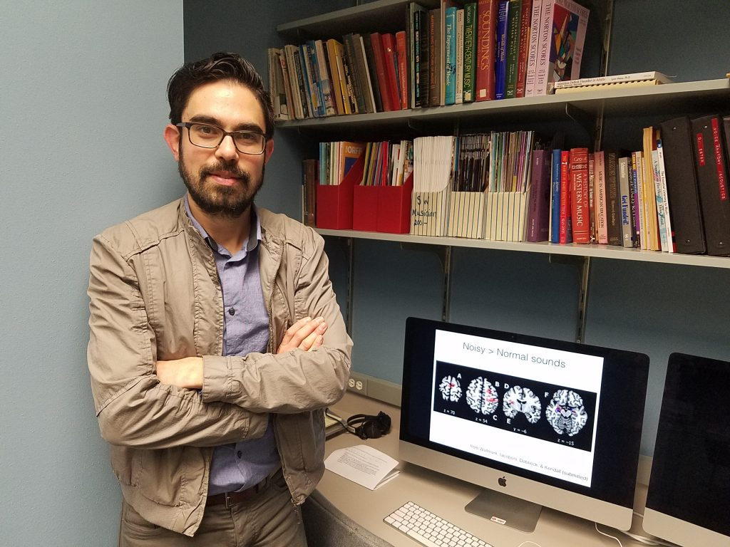 Dr. Zachary Wallmark in his MuSci Lab at SMU.