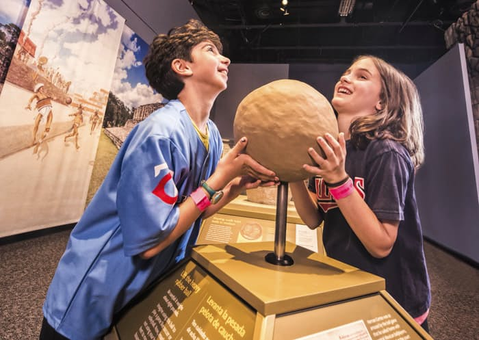 Check out this early ancestor to the soccer ball at Maya: Hidden Worlds Revealed. Photo: Perot Museum of Nature and Science.