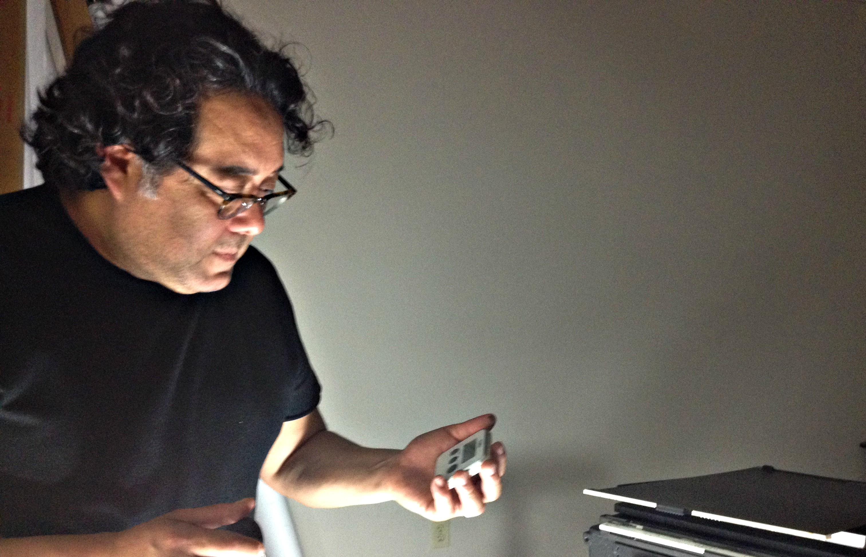 Frank Lopez in Greenhill's studio.