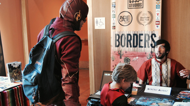 Texas-based illustrator and game designer Gonzalo Alvarez at the Latino Comic Con July 29