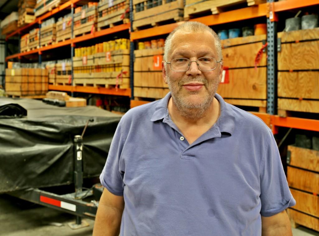 Randy Beckham at the Pyrotex warehouse. Photo: Hady Mawajdeh