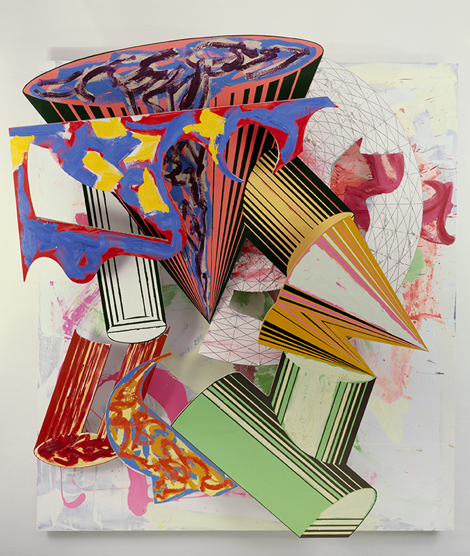 Frank Stella Gobba, zoppa e collotorto, 1985 Oil, urethane enamel, fluorescent alkyd, acrylic, and printing ink on etched magnesium and aluminum 137 x 120 1/8 x 34 3/8 in. The Art Institute of Chicago; Mr. and Mrs. Frank G. Logan Purchase Prize Fund; Ada Turnbull Hertle Endowment 1986.93. Image copyright: 2015 Frank Stella/Artists Rights Society (ARS), New York