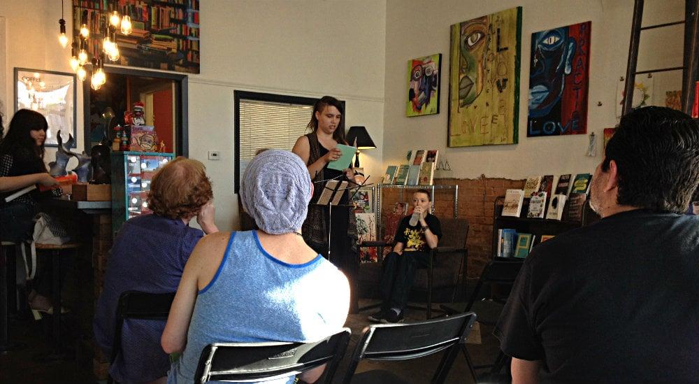 Open mic night at Deep Vellum bookstore.