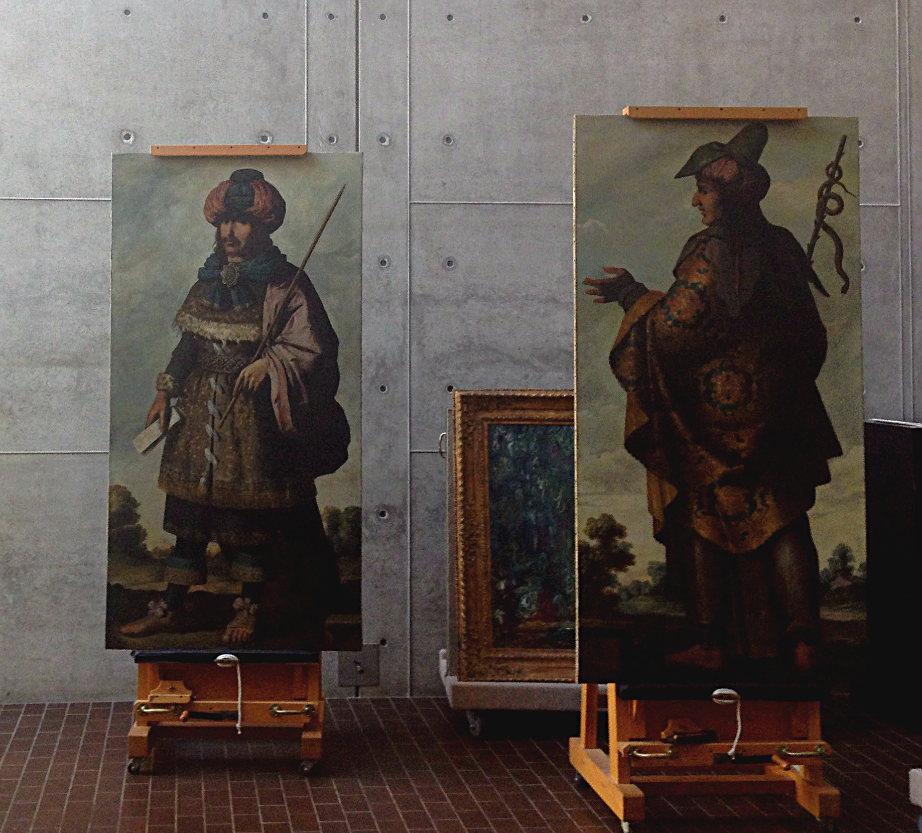 Zurbaron paintings in the Kimbell's conservation studio