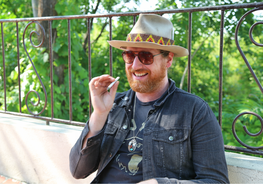 Aaron Haynes on a cigarette break during the Belmont recording session. Photo: Hady Mawajdeh