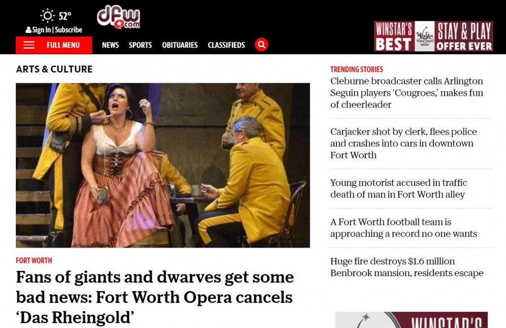 "Photo of ""Arts & Culture"" section of Fort Worth Star-Telegram's website."