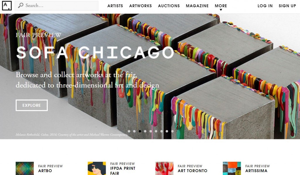 The homepage for Artsy. Artsy's an aggregation arts blog.