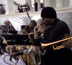 Brad playing with Stevie Wonder, Usher, and Shakira at President Obama's inauguration.