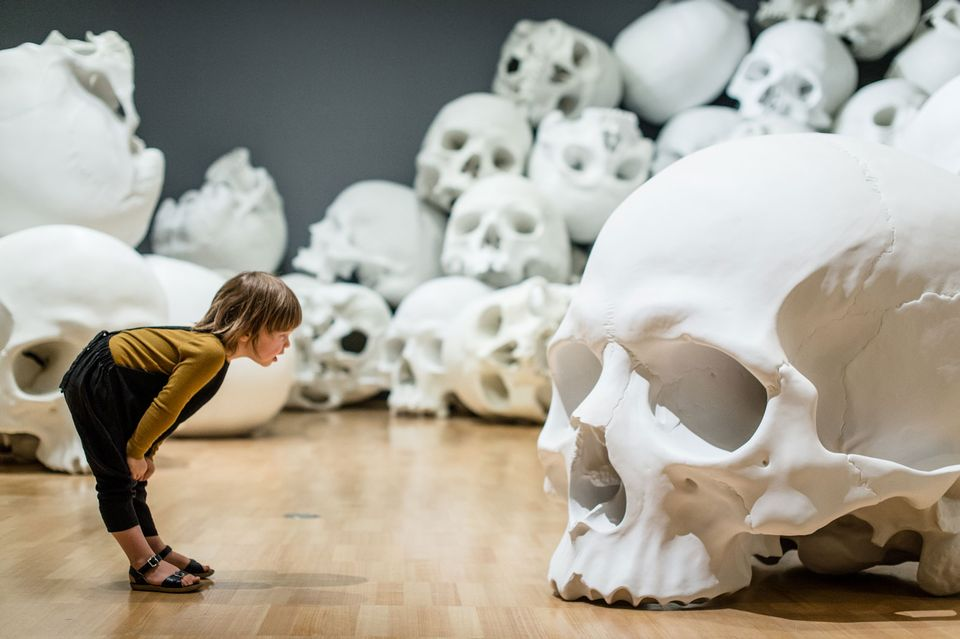 Mass, an arrangement of 100 fibreglass and resin skulls, is a highlight of the National Gallery of Victoria's inaugural triennial Photo: Eugene Hyland