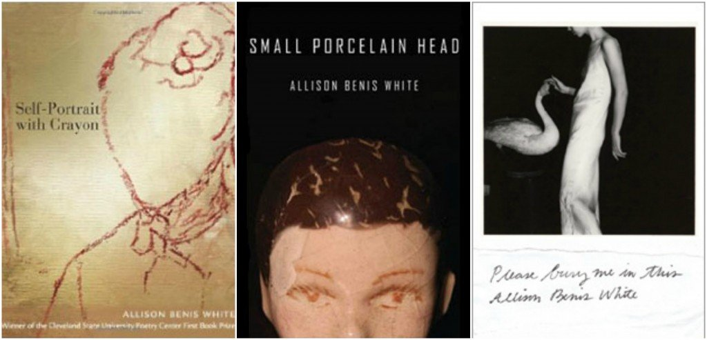 "Allison Benis White's books (left to right) ""Self-Portrait with Crayon,"" Small Porcelain Head,"" and ""Please Bury Me in This."""