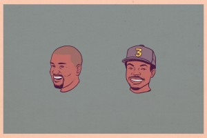 Chicago hip-hop artists Chance the Rapper and Kanye West make quite the pair in this retro-looking illustration by Torres.