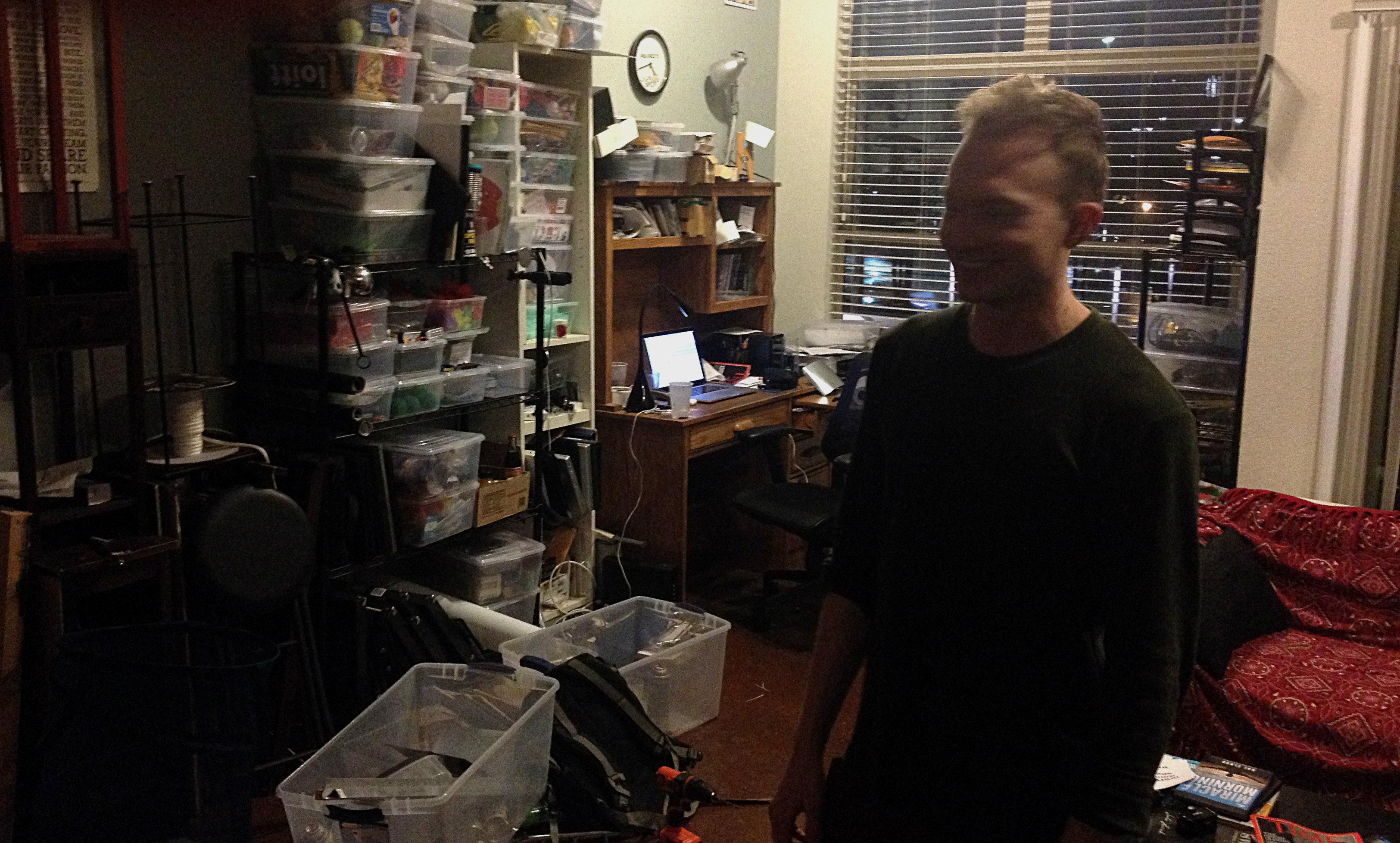 in his apartment