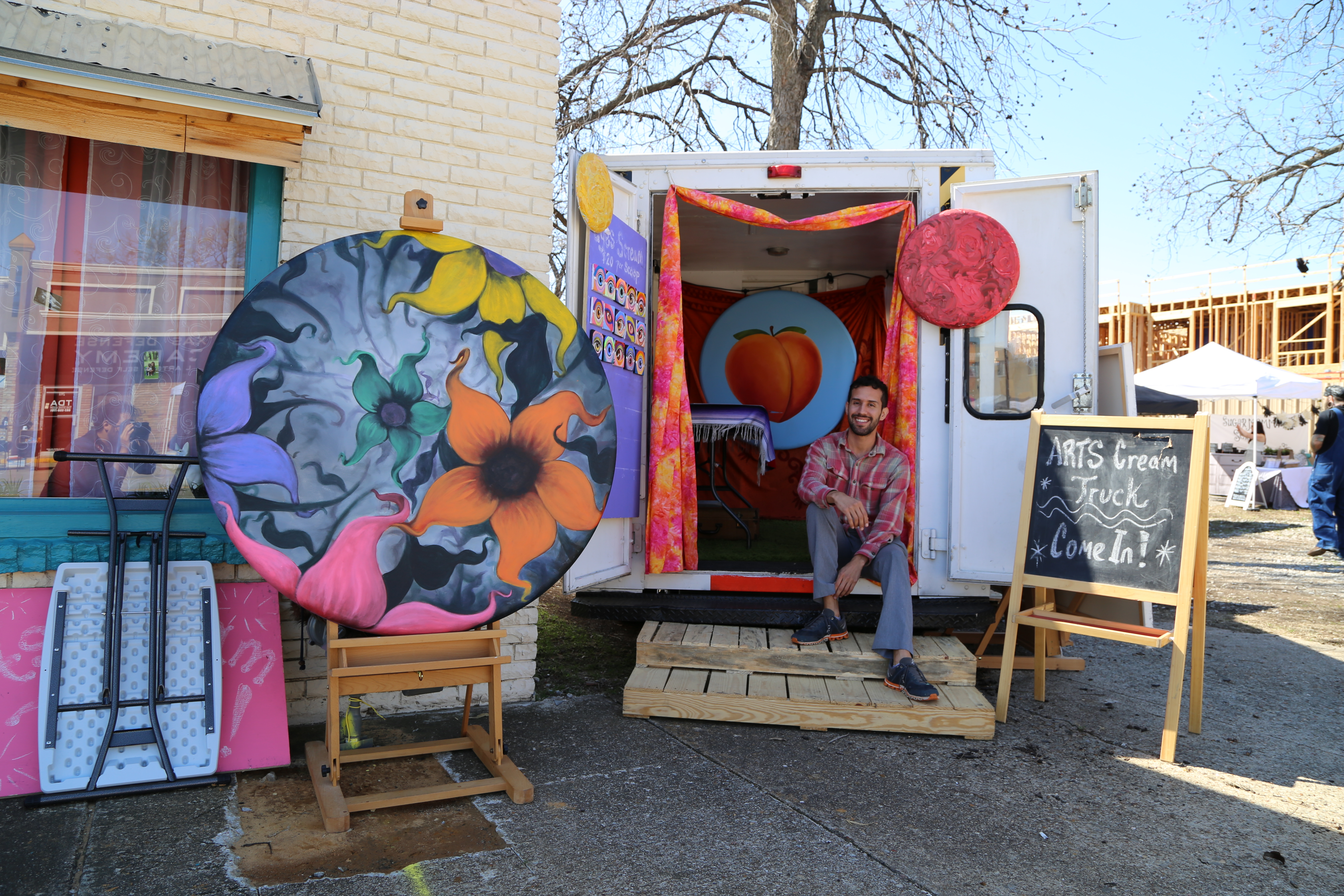 A peek inside of Arnoldo Hurtado's ArtsCream Truck.