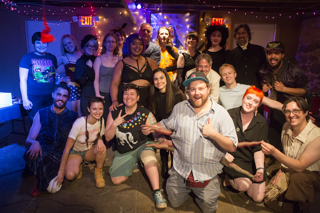 All of the performers and artists showing work at SpiderCon pose for a photo. Photo: Leah Jones