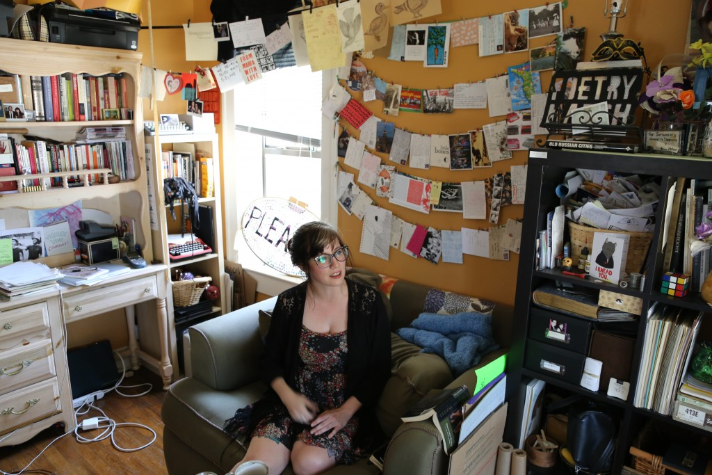 Courtney Marie inside her studio, which has been taken over by Spiderweb Salon materials. Photo: Hady Mawajdeh