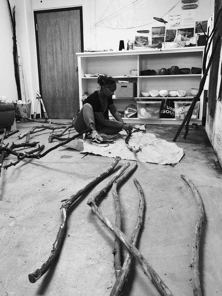 Taylor Barnes in her studio