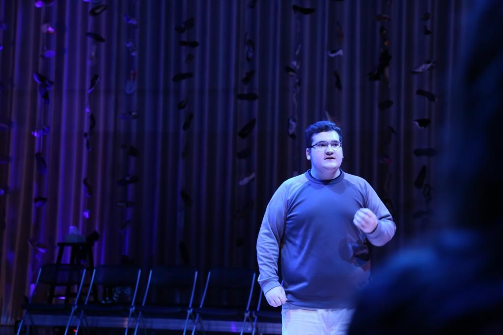 Cry Havoc's Andrew Beason portrays Senator John Cornyn in 'Babel.' This photo shows him in rehearsal. Photo: Hady Mawajdeh
